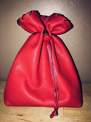 Red Leather Drawstring Pouch Dice Bag