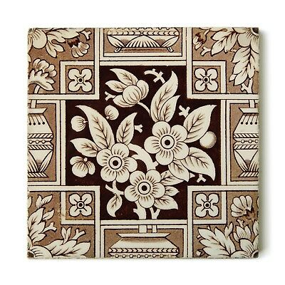 Antique Tile Victorian Aesthetic Japonesque Floral Cherry Blossoms Brown Ivory