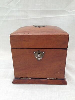 Antique Fitted Wood Box With Drawer Working Lock And Key