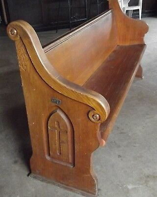 VINTAGE AUTHENTIC 1940's STURDY SOLID OAK CHURCH PEW 7FT LONG CARVED DROP ARM