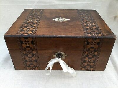 Antique Victorian Fitted Sewing Work Box. Original Interior, Contents Lock & Key
