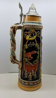 "LARGE 2 Liter beer stein 14"" tall German"