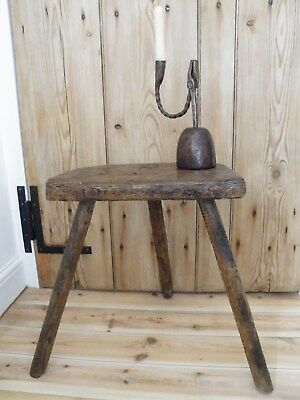 Original Early Antique English Highly Patinated Ash & Elm Cutlers Stool