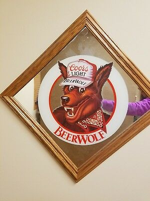 "NEW Vintage 1986 Framed Coors Light Beer Wolf Mirror Sign bar 16.5"" x 16.5"""