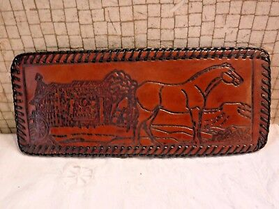 VINTAGE Hand Tooled Leather Wallet w Horse + Stable Art- Hand Laced Edges