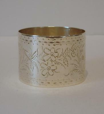 An Ornate Flower Engraved Victorian Sterling Silver Napkin Ring Chester 1897