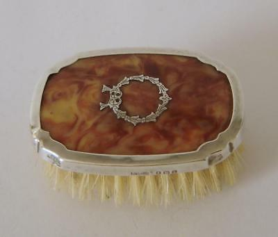 """A Sterling Silver & """"Faux"""" Tortoiseshell Small Clothes Brush Birmingham 1926"""