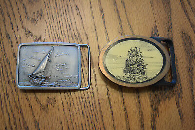 2 Buckles-Indiana Metal Craft Pewter, Tech-Ether Guild Brass-Sail Boat, Clipper