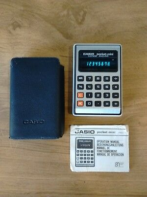 Casio Pocket Mini Vintage Calculator With Manual And Original Softcase