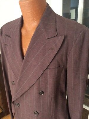 True Vintage 1940s Double Breasted Gangster Mauve Pin Striped Wool Mens Suit 42""
