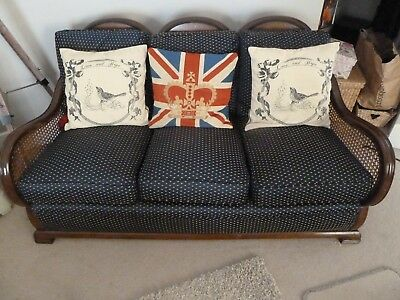 Antique Bergere sofa updated with solid back, reupholstered and new cushions