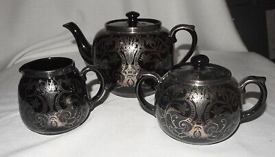 Gibsons England Black with Silver Overlay Teapot Sugar Creamer Set