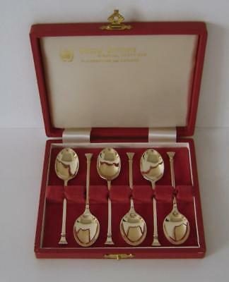 A Cased Set Of Six Fully Gilded Sterling Silver Seal Top Spoons Sheffield 1972