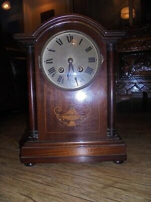 Antique Edwardian Mahogany Mantle Clock With Silvered Dial & German Movement.