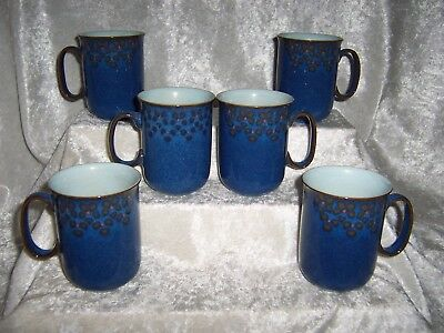 Vintage Denby Midnight Blue Stoneware Pottery Coffee, Drink Cups, Mugs Nice!