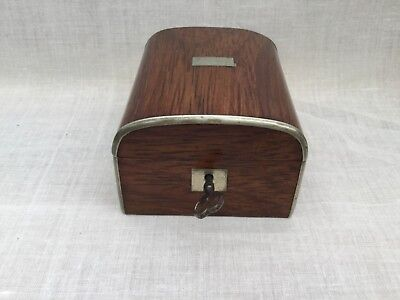 Antique Small Domed Wood Pocket Watch ? Box with original working lock and key.