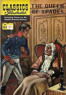 Classics Illustrated #157 THE QUEEN OF SPADES. Pushkin. RARE 2/- 'UK only' 1962!