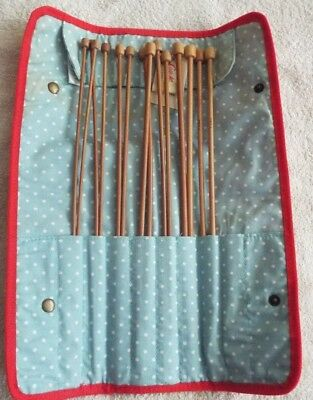 Cath Kidston almost complete knitting needle set in case.