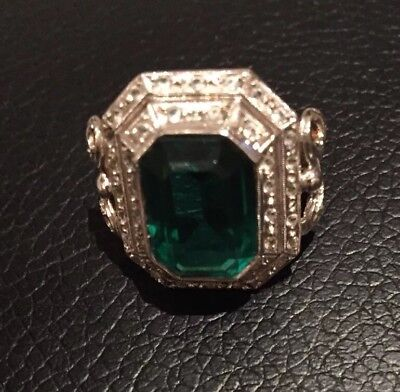 Antique Art Deco Gatsby 1920s Vintage Emerald costume Ring