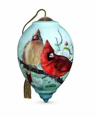 NeQwa Art Hand Painted Glass Orchard Cardinals Christmas Ornament  NEW w/ Box