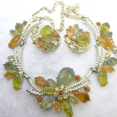 Vintage Signed Exquisite Translucent Glass Flower Chain Necklace Clip Earrings