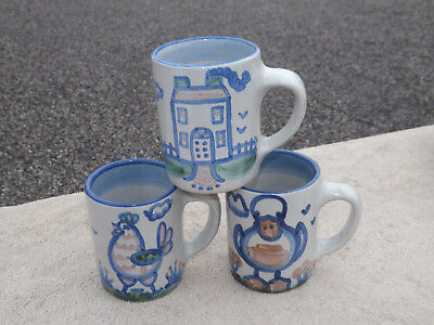 MA Hadley Pottery 3 Mugs Duck Chicken House