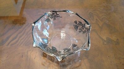 ANTIQUE VINTAGE HAND PAINTED CLEAR Glass FLORAL ART DECO Design Platinum