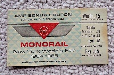 1964-1965 Worlds Fair New York Monorail Ticket