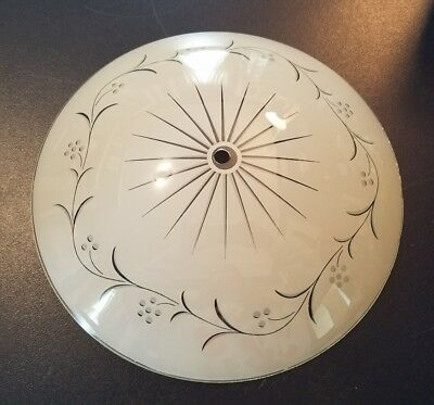 """Vintage 12.5"""" Round Dome Ceiling Light Cover Shade Frosted Glass Starburst MCM"""