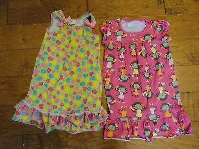 2 Nightgowns Toddler Size S 3T Carter's Monkeys Laura Dare Colored Swirls Ruffle
