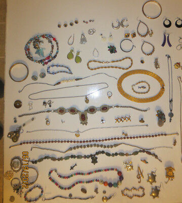 Estate Box Lot of Old Vintage Jewelry Junk Drawer Fashion Mixed Random Items