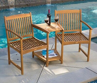 Wood Patio Furniture Outdoor Chair Set 2 Seats Table Deck Seating Backyard Shelf