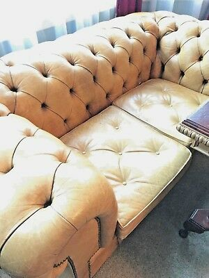 Leather Chesterfield 2 Seater Sofa Rare Pale Brown Superb Example Only One