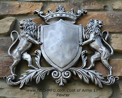 Decor Coat Of Arms Royal Crest Lion Wall Plaque Sign 17 Meval Heraldic