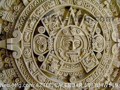 "History MAYAN AZTEC CALENDAR Sculptural wall relief plaque 19"" Age stone"