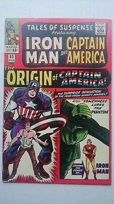 Tales Of Suspense # 63  Origin Of Captain America  Jack Kirby Art  Cents  1965