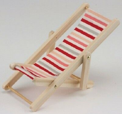 Dollhouse Miniature Red, White and Pink Beach Chair - 1:12 Scale