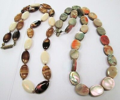 Gorgeous vintage Deco abalone/m-o-p bead necklace + agate glass bead necklace