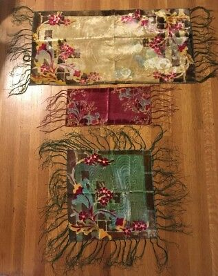 1920s Antique Velvet Table Runners Small Piano Scarf Shawl Set of 3 Coordinating
