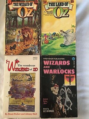 Lot 4 Vintage Pocket books Wizard of OZ,The Land of OZ,Wizards and Warlocks, ID