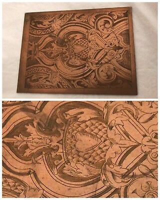 Hand engraved Copper plate beautifully done shield well engraved