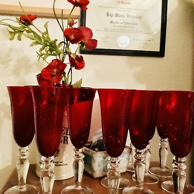 """Stunning Ruby Red 9"""" Champagne Flutes"""