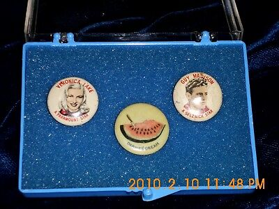 Movie Pins from Quaker Puffed Rice and a 1896 odd pin,LOOKS VERY RARE!!!!!!