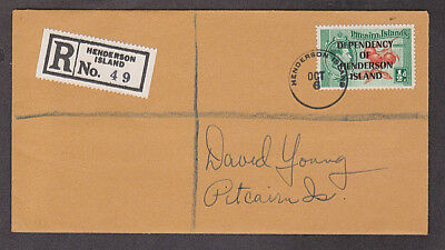 Pitcairn Islands - Registered cover with Dependency of Henderson Is. overprint
