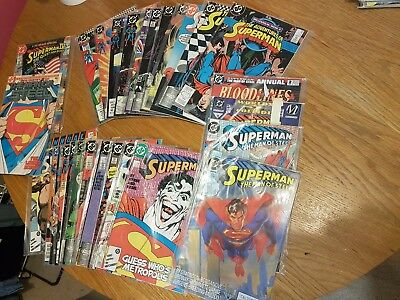 DC Superman job lot x 28 issues Inc Man of steel #1 Adventures of superman 1980s