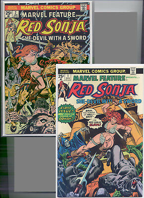 Marvel Feature #1 & #2 ('75-'76) Red Sonja, Very Nice, 2 Issue Lot, See Scans