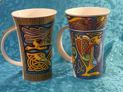 Two Beautiful Celtic Patterned Dunoon Mugs Designed By Jackie Reynolds