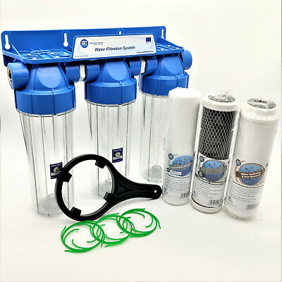 "3 Stage Whole House Water Purifier and Softening Filter Kit Salt Free 3/4"" BSP"