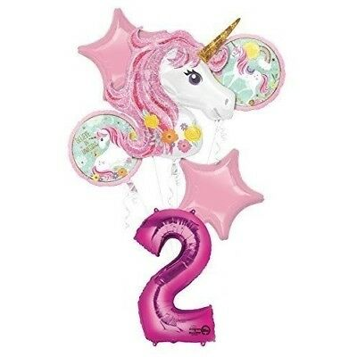 Magical Unicorn Combo Balloon 8pc 2nd Birthday Party Bouquet 2 Years Old