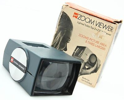 """GAF Zoom Viewer lighted Table Top viewer for 2x2"""" mounted slides 8X /box 367508"""